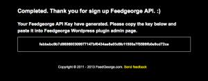 FeedGeorge API Key confirmation